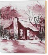 Mountain Cabin Wood Print by David Lane