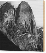Mountains Of Yosemite . 7d6167 . Vertical Cut . Black And White Wood Print by Wingsdomain Art and Photography