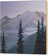 Mt Rainier As Seen At Sunrise Mt Wood Print by Tim Fitzharris