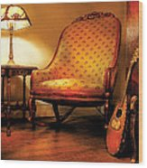 Music - String - The Chair And The Lute Wood Print by Mike Savad