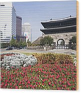 Namdaemun Gate With Flowers In Foreground Wood Print by Jeremy Woodhouse