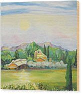 Napa Moon Wood Print by Barbara Anna Knauf
