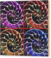 Nautilus Shell Ying And Yang - Electric - V1 - Four Squares Wood Print by Wingsdomain Art and Photography