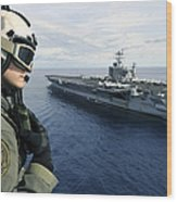 Naval Air Crewman Conducts A Visual Wood Print by Stocktrek Images