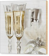 New Year Champagne Wood Print by Amanda Elwell