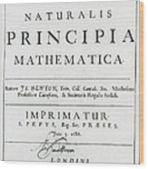 Newtons Principia, Title Page Wood Print by Science Source