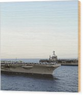 Nimitz-class Aircraft Carriers Transit Wood Print by Stocktrek Images
