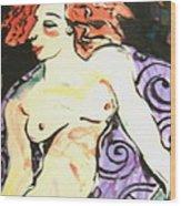 Nude Redhead Wood Print by Patricia Lazar
