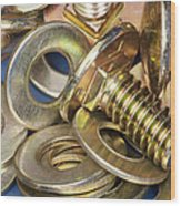 Nuts Bolts And Washers Wood Print by Shannon Fagan