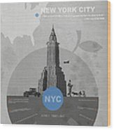 Nyc Poster Wood Print by Naxart Studio