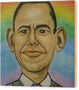 Obama Rainbow Wood Print by Pete Maier