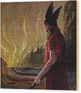Odin Leaves As The Flames Rise Wood Print by H Hendrich