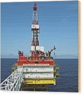 Oil Production Rig, Baltic Sea Wood Print by Ria Novosti