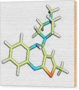 Olanzapine Antipsychotic Drug Molecule Wood Print by Dr Tim Evans