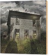 Old Ababdoned House With Flying Ghosts Wood Print by Sandra Cunningham