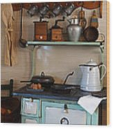 Old Cook Stove Wood Print by Carmen Del Valle