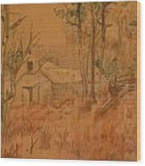 Old Farm Wood Print by Carman Turner