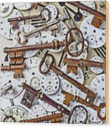 Old Keys And Watch Dails Wood Print by Garry Gay