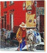 Old Timer With His Burros On Umaran Street Wood Print by John  Kolenberg