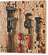 Old Tools On Rusty Counter  Wood Print by Garry Gay