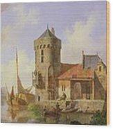 On The Rhine Wood Print by Cornelius Springer