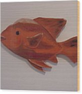 Orange Fish Wood Print by Val Oconnor