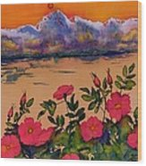 Orange Sun Over Wild Roses Wood Print by Carolyn Doe