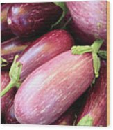 Organic Eggplant Wood Print by Wendy Connett