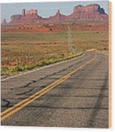 ouest USA route monument valley road Wood Print by Audrey Campion