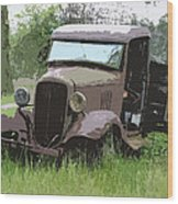 Painted 30's Chevy Truck Wood Print by Steve McKinzie