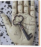 Palm Reading Hand And Key Wood Print by Garry Gay