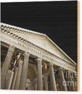 Pantheon At Night. Rome Wood Print by Bernard Jaubert
