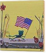 Patriot Frog Wood Print by Gracies Creations
