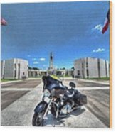 Patriot Guard Rider At The Houston National Cemetery Wood Print by David Morefield