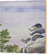 Peaceful Place Morning At The Lake Wood Print by Irina Sztukowski