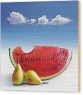 Pears And Melon Wood Print by Carlos Caetano
