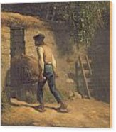 Peasant With A Wheelbarrow Wood Print by Jean-Francois Millet