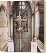 Pere La Chaise Cemetery Ornate Mausoleum Wood Print by Kathy Fornal