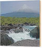Petrohue Falls And Osorno Volcano Wood Print by Pcontreras