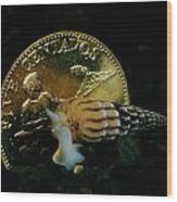 Philippine Gold Coin With Turret Shell Wood Print by Paul Zahl