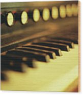 Piano Keys And Buttons Wood Print by photographer, loves art, lives in Kyoto