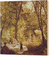 Picnic Wood Print by Charles James Lewis