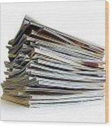 Pile Of Magazines Wood Print by Carlos Caetano