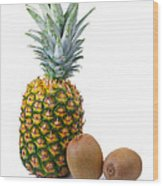 Pineapple And Kiwis Wood Print by Carlos Caetano