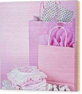 Pink Baby Shower Presents Wood Print by Elena Elisseeva