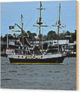 Pirate Ship Of The Matanzas Wood Print by DigiArt Diaries by Vicky B Fuller