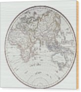 Planispheric Map Of The Eastern Hemisphere Wood Print by Fototeca Storica Nazionale