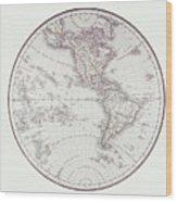 Planispheric Map Of The Western Hemisphere Wood Print by Fototeca Storica Nazionale