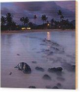 Poipu Evening Storm Wood Print by Mike  Dawson