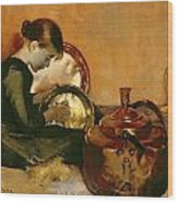 Polishing Pans  Wood Print by Marianne Stokes